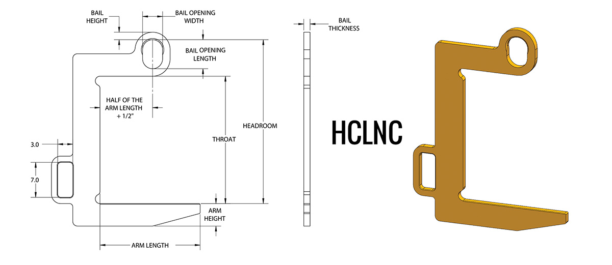 HCLNC - Narrow Coil Lifter Dimensions