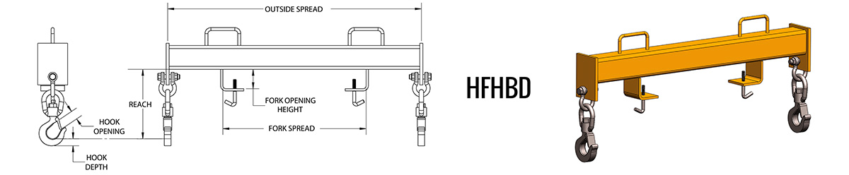 HFHBD - Forklift Double Hook Beam Dimensions