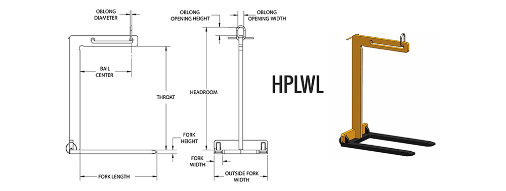 HPLWL - Wheeled Pallet Lifter Dimensions