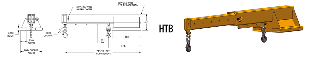 HTB - Telescoping Forklift Boom Dimensions