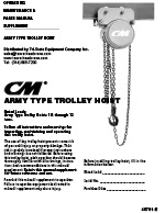 CM Cyclone Army Type Trolley Hoist Manual