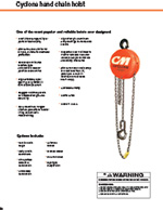 CM Cyclone Hand Chain Hoist Specs Sheet