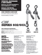 CM Series 602/603 Mini Lever Hoist Manual