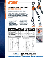 CM Series 602/603 Mini Lever Hoist Specs