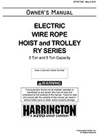 Harrington RY Wire Rope Hoist Manual