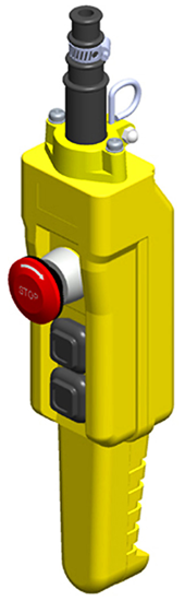 Conductix, 80 Series 2-Button Pistol Grip Pendant, Two Speed with Emergency Stop, Part No XA-COB81.5P