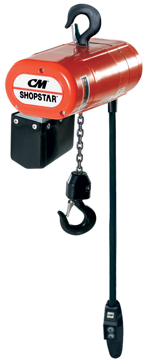 CM ShopStar Electric Chain Hoist with Chain Container