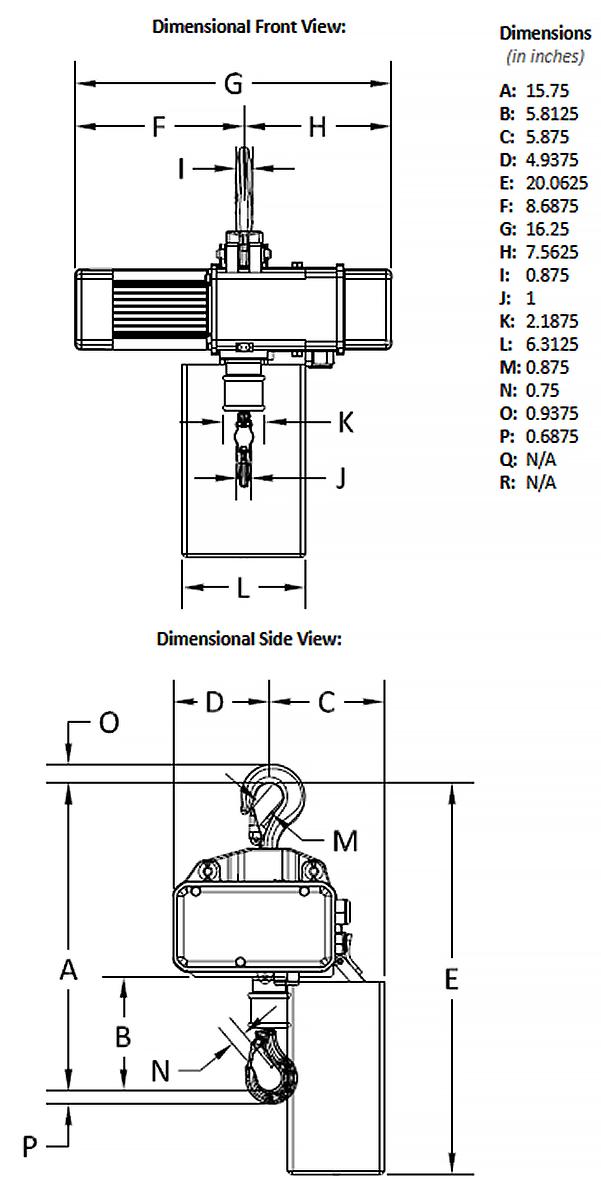 1/4-Ton Gorbel GS Electric Chain Hoist, Dimensions