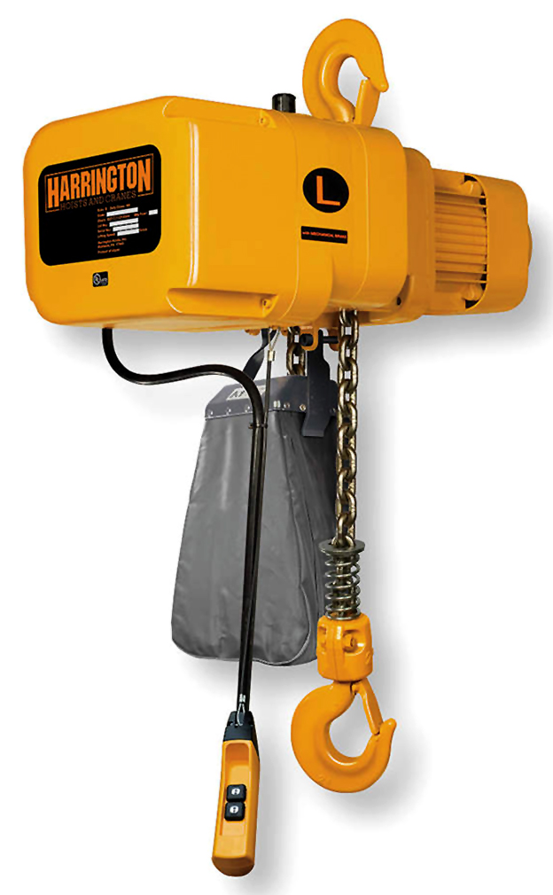 14 ft//min Harrington NERP020L-20 NER Electric Chain Hoist w//Push Trolley 20 Lift 2 Ton 208V